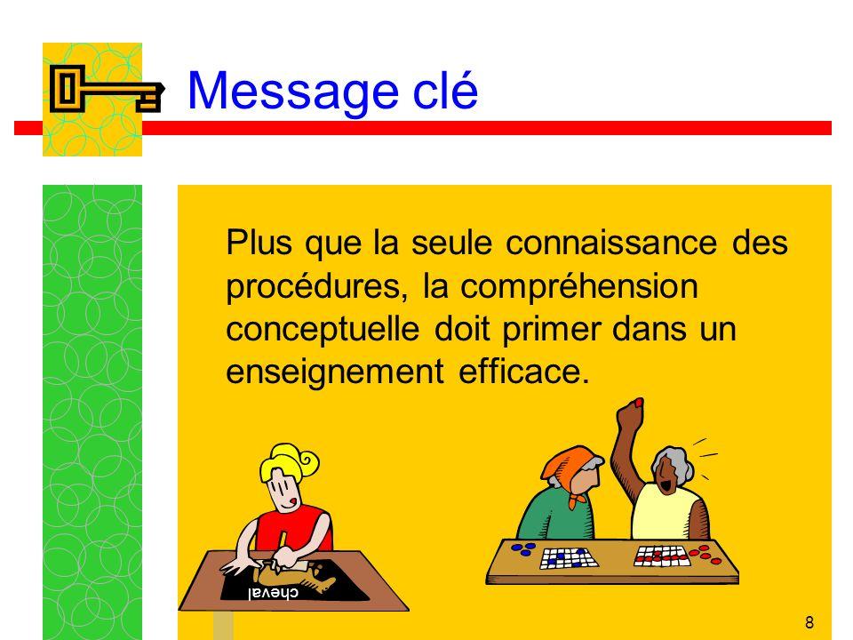 8 Message clé Plus que la seule connaissance des procédures, la compréhension conceptuelle doit primer dans un enseignement efficace.