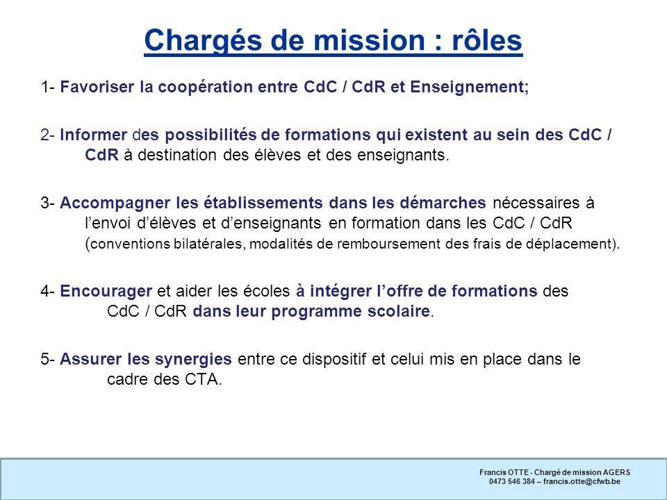1- Favoriser la coopération entre CdC / CdR et Enseignement; 2- Informer des possibilités de formations qui existent au sein des CdC / CdR à destinati