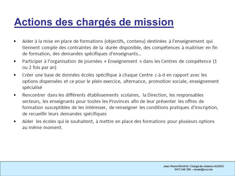 Actions des chargés de mission Aider à la mise en place de formations (objectifs, contenu) destinées à lenseignement qui tiennent compte des contraint