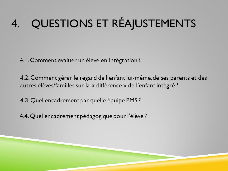 4. QUESTIONS ET RÉAJUSTEMENTS 4.1. Comment évaluer un élève en intégration ? 4.2. Comment gérer le regard de lenfant lui-même, de ses parents et des a