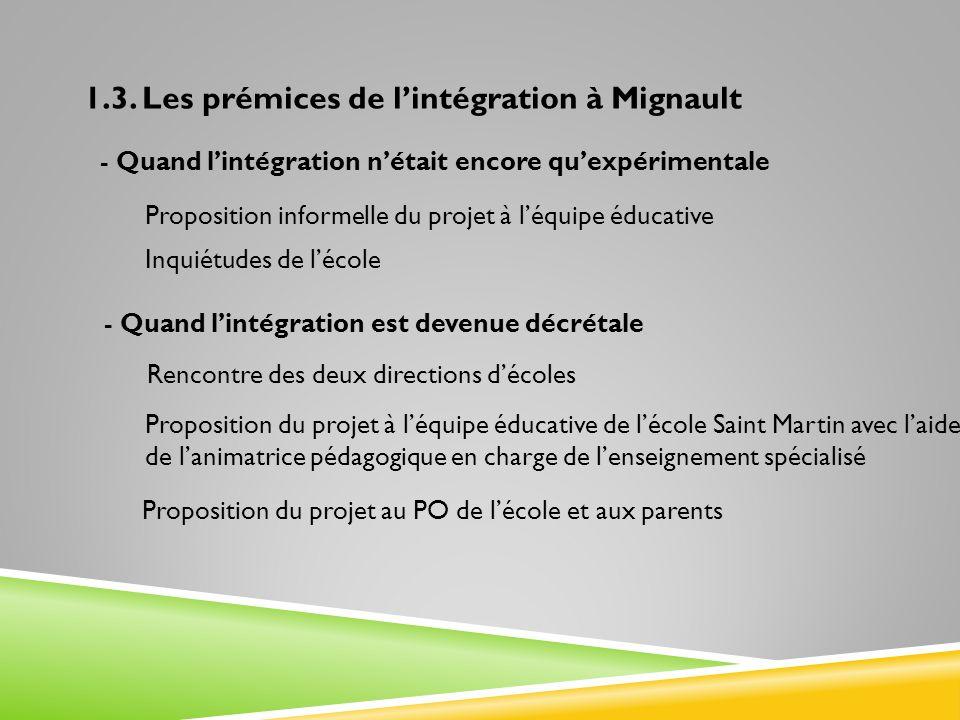 1.3. Les prémices de lintégration à Mignault - Quand lintégration est devenue décrétale - Quand lintégration nétait encore quexpérimentale Rencontre d