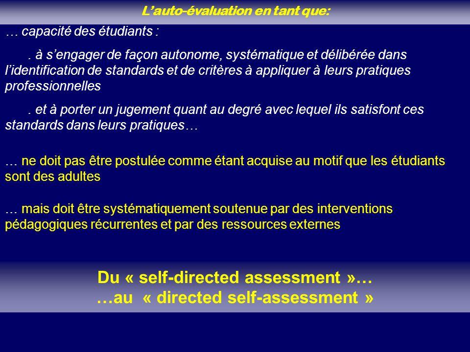 Lauto-évaluation en tant que: … capacité des étudiants :. à sengager de façon autonome, systématique et délibérée dans lidentification de standards et