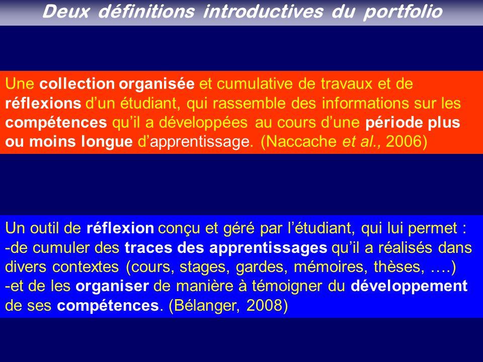 Une collection organisée et cumulative de travaux et de réflexions dun étudiant, qui rassemble des informations sur les compétences quil a développées