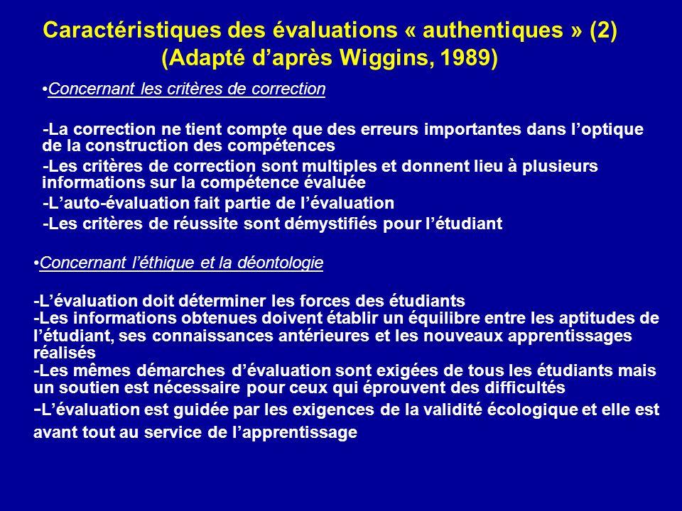 Caractéristiques des évaluations « authentiques » (2) (Adapté daprès Wiggins, 1989) Concernant les critères de correction -La correction ne tient comp