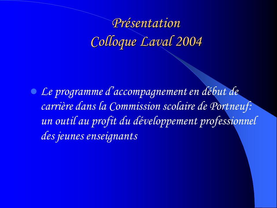 Présentation Colloque Laval 2004 Le programme daccompagnement en début de carrière dans la Commission scolaire de Portneuf: un outil au profit du développement professionnel des jeunes enseignants