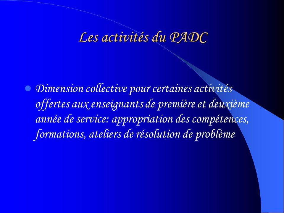 Les activités du PADC Dimension collective pour certaines activités offertes aux enseignants de première et deuxième année de service: appropriation des compétences, formations, ateliers de résolution de problème