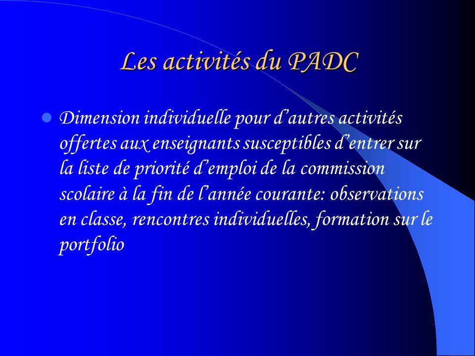 Les activités du PADC Dimension individuelle pour dautres activités offertes aux enseignants susceptibles dentrer sur la liste de priorité demploi de la commission scolaire à la fin de lannée courante: observations en classe, rencontres individuelles, formation sur le portfolio