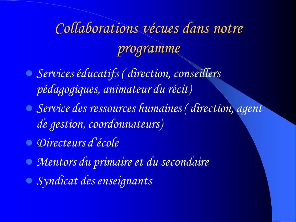 Collaborations vécues dans notre programme Services éducatifs ( direction, conseillers pédagogiques, animateur du récit) Service des ressources humaines ( direction, agent de gestion, coordonnateurs) Directeurs décole Mentors du primaire et du secondaire Syndicat des enseignants