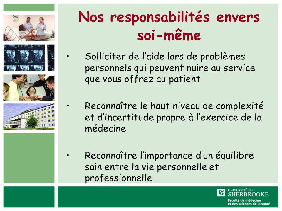 Nos responsabilités envers soi-même Solliciter de laide lors de problèmes personnels qui peuvent nuire au service que vous offrez au patient Reconnaît