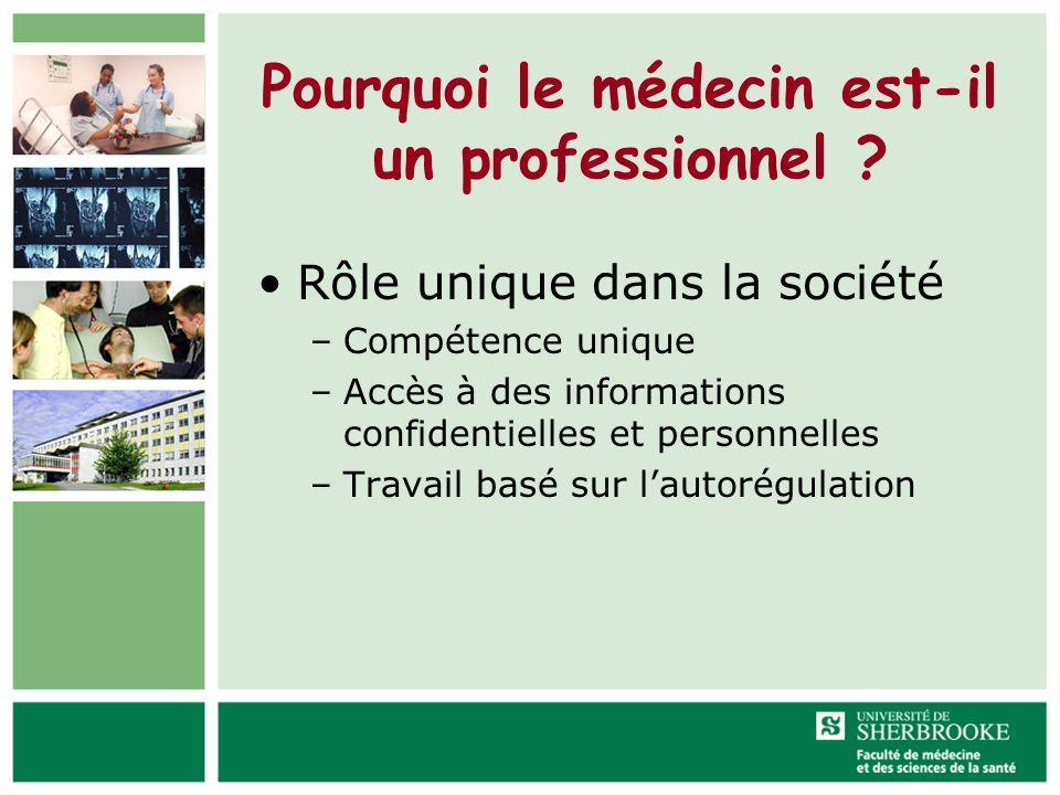 Pourquoi le médecin est-il un professionnel ? Rôle unique dans la société –Compétence unique –Accès à des informations confidentielles et personnelles