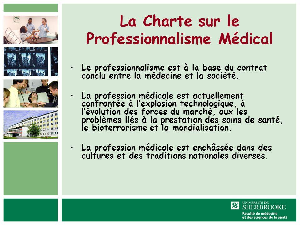 La Charte sur le Professionnalisme Médical Le professionnalisme est à la base du contrat conclu entre la médecine et la société. La profession médical