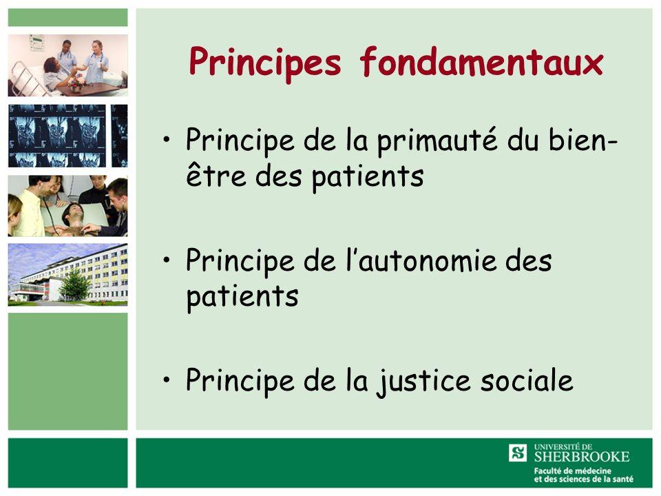 Principes fondamentaux Principe de la primauté du bien- être des patients Principe de lautonomie des patients Principe de la justice sociale