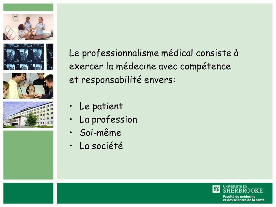 Le professionnalisme médical consiste à exercer la médecine avec compétence et responsabilité envers: Le patient La profession Soi-même La société
