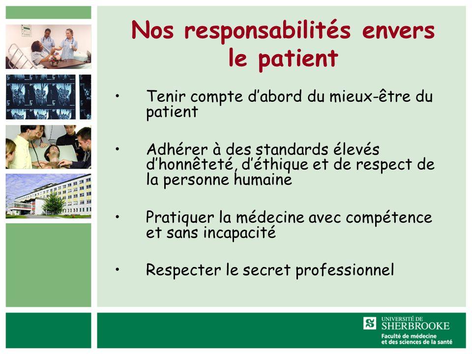 Nos responsabilités envers le patient Tenir compte dabord du mieux-être du patient Adhérer à des standards élevés dhonnêteté, déthique et de respect d