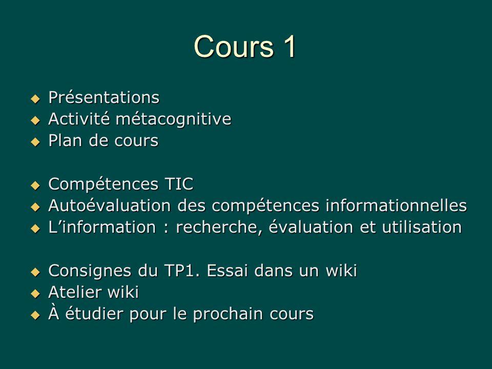 Activité métacognitive Pourquoi est-ce que je suis ce cours : parce quil est obligatoire ou bien laurais-je choisi même sil était facultatif.