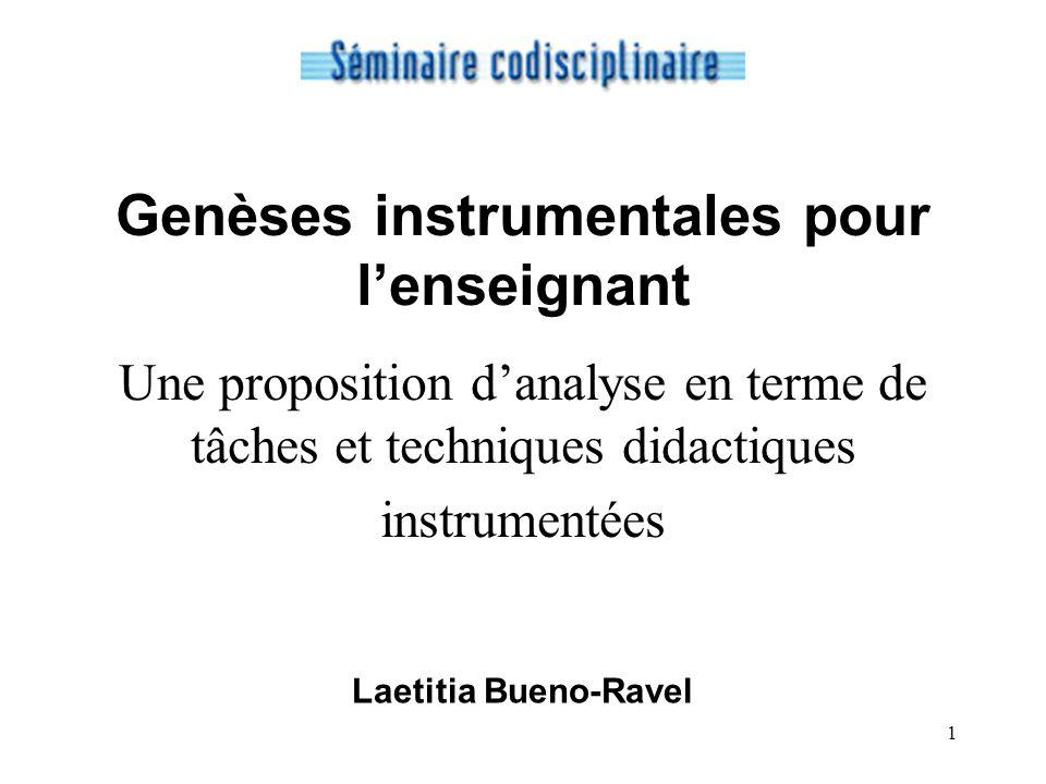 1 Genèses instrumentales pour lenseignant Une proposition danalyse en terme de tâches et techniques didactiques instrumentées Laetitia Bueno-Ravel