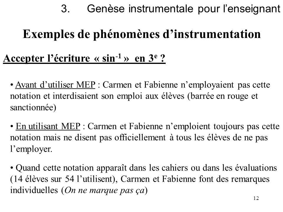 12 Exemples de phénomènes dinstrumentation 3.Genèse instrumentale pour lenseignant Accepter lécriture « sin -1 » en 3 e ? Avant dutiliser MEP : Carmen