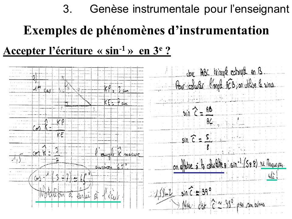 13 Exemples de phénomènes dinstrumentation 3.Genèse instrumentale pour lenseignant Accepter lécriture « sin -1 » en 3 e ?