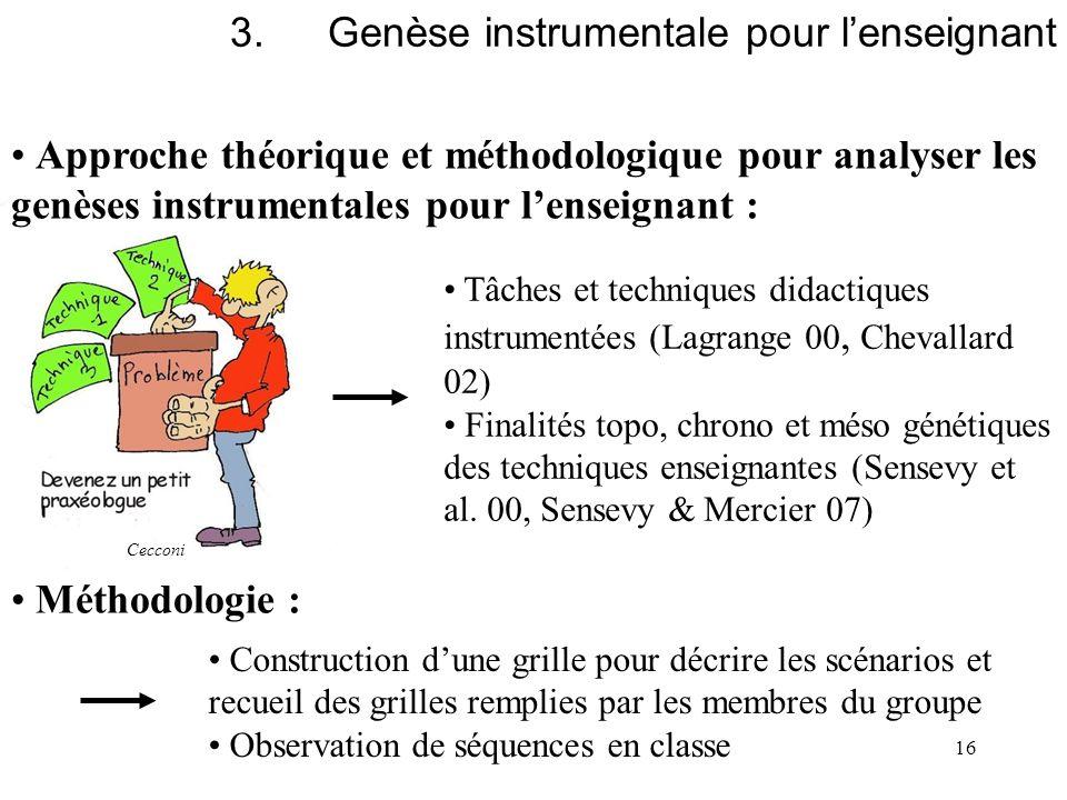 16 Approche théorique et méthodologique pour analyser les genèses instrumentales pour lenseignant : Tâches et techniques didactiques instrumentées (La