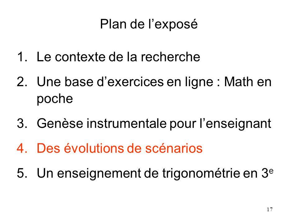 17 Plan de lexposé 1.Le contexte de la recherche 2.Une base dexercices en ligne : Math en poche 3.Genèse instrumentale pour lenseignant 4.Des évolutio