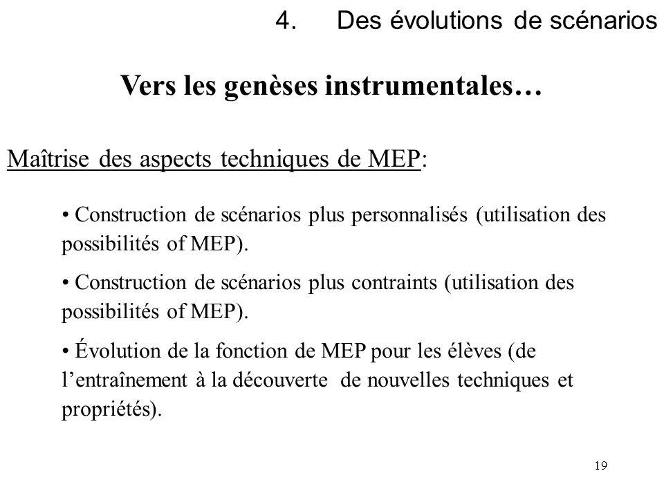 19 4.Des évolutions de scénarios Maîtrise des aspects techniques de MEP: Construction de scénarios plus personnalisés (utilisation des possibilités of