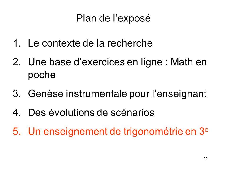 22 Plan de lexposé 1.Le contexte de la recherche 2.Une base dexercices en ligne : Math en poche 3.Genèse instrumentale pour lenseignant 4.Des évolutio
