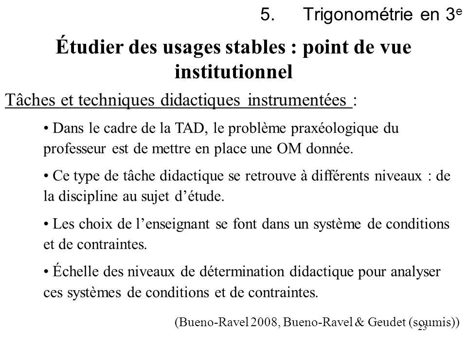 23 5.Trigonométrie en 3 e Étudier des usages stables : point de vue institutionnel Tâches et techniques didactiques instrumentées : Dans le cadre de l