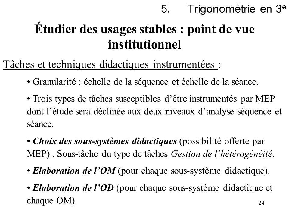 24 5.Trigonométrie en 3 e Tâches et techniques didactiques instrumentées : Granularité : échelle de la séquence et échelle de la séance. Trois types d