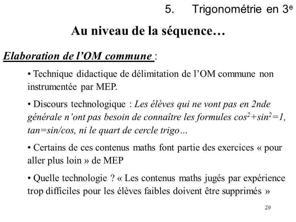 29 5.Trigonométrie en 3 e Elaboration de lOM commune : Technique didactique de délimitation de lOM commune non instrumentée par MEP. Discours technolo