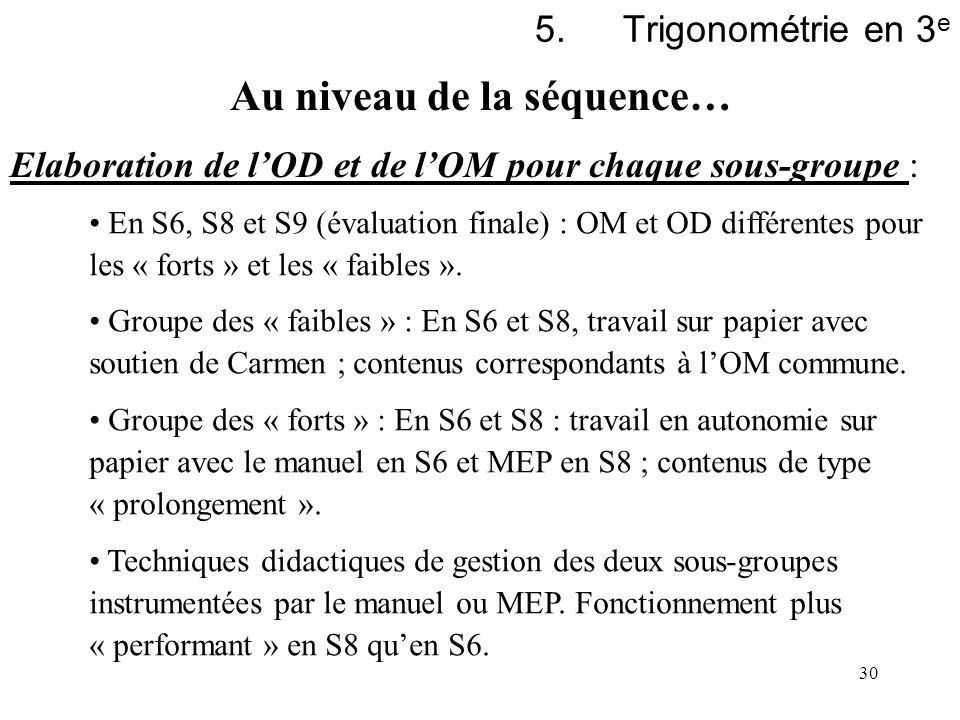 30 5.Trigonométrie en 3 e Elaboration de lOD et de lOM pour chaque sous-groupe : En S6, S8 et S9 (évaluation finale) : OM et OD différentes pour les «