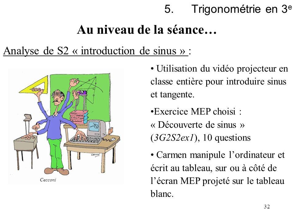 32 5.Trigonométrie en 3 e Analyse de S2 « introduction de sinus » : Utilisation du vidéo projecteur en classe entière pour introduire sinus et tangent