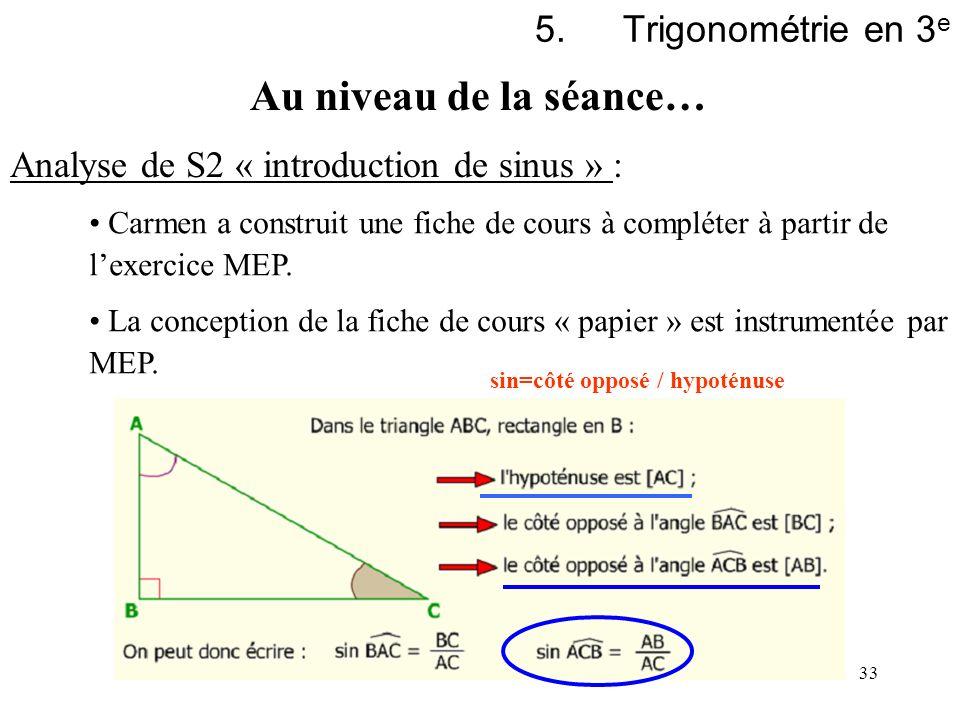 33 5.Trigonométrie en 3 e Analyse de S2 « introduction de sinus » : Carmen a construit une fiche de cours à compléter à partir de lexercice MEP. La co