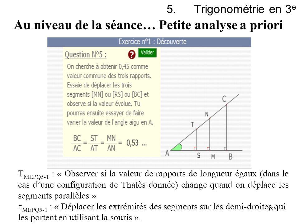 35 5.Trigonométrie en 3 e T MEPQ5-1 : « Observer si la valeur de rapports de longueur égaux (dans le cas dune configuration de Thalès donnée) change q
