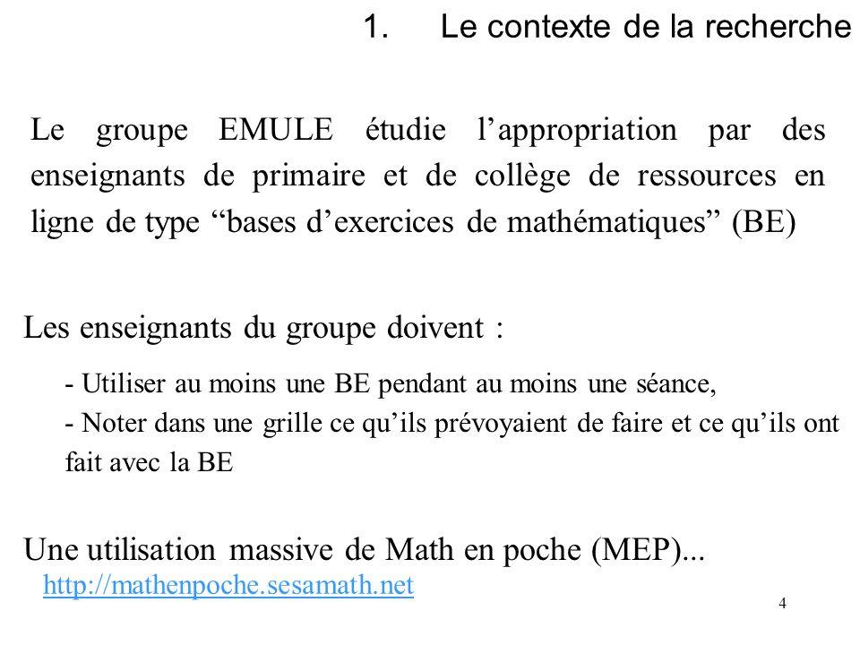 4 1.Le contexte de la recherche Le groupe EMULE étudie lappropriation par des enseignants de primaire et de collège de ressources en ligne de type bas