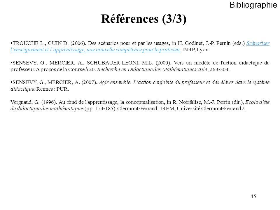 45 Bibliographie Références (3/3) TROUCHE L., GUIN D. (2006). Des scénarios pour et par les usages, in H. Godinet, J.-P. Pernin (eds.) Scénariser lens