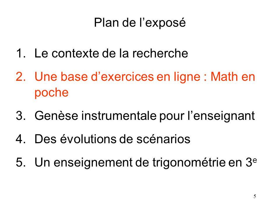 5 Plan de lexposé 1.Le contexte de la recherche 2.Une base dexercices en ligne : Math en poche 3.Genèse instrumentale pour lenseignant 4.Des évolution