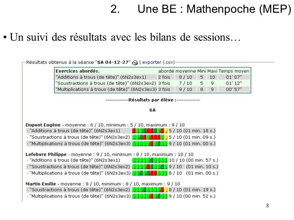 8 2.Une BE : Mathenpoche (MEP) Un suivi des résultats avec les bilans de sessions…