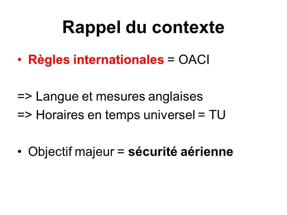 Rappel du contexte Règles internationales = OACI => Langue et mesures anglaises => Horaires en temps universel = TU Objectif majeur = sécurité aérienn
