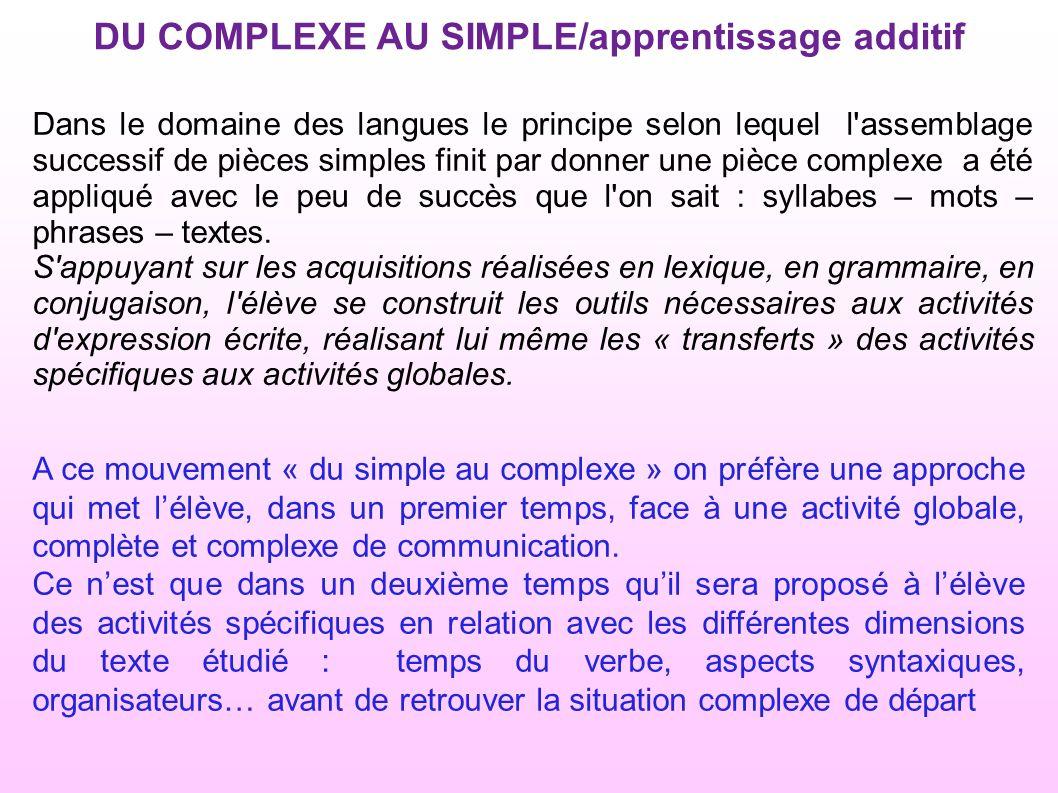 A ce mouvement « du simple au complexe » on préfère une approche qui met lélève, dans un premier temps, face à une activité globale, complète et complexe de communication.