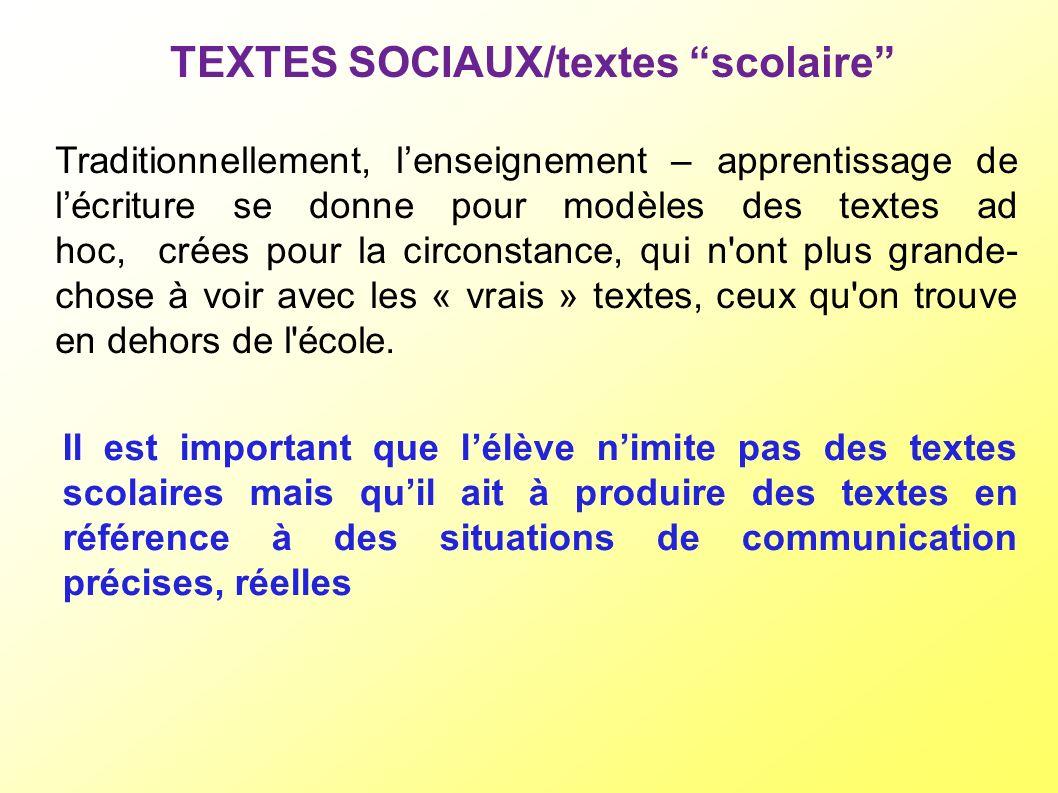 TEXTES SOCIAUX/textes scolaire Traditionnellement, lenseignement – apprentissage de lécriture se donne pour modèles des textes ad hoc, crées pour la c