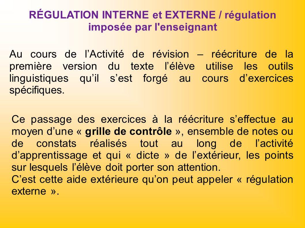 RÉGULATION INTERNE et EXTERNE / régulation imposée par l'enseignant Au cours de lActivité de révision – réécriture de la première version du texte lél