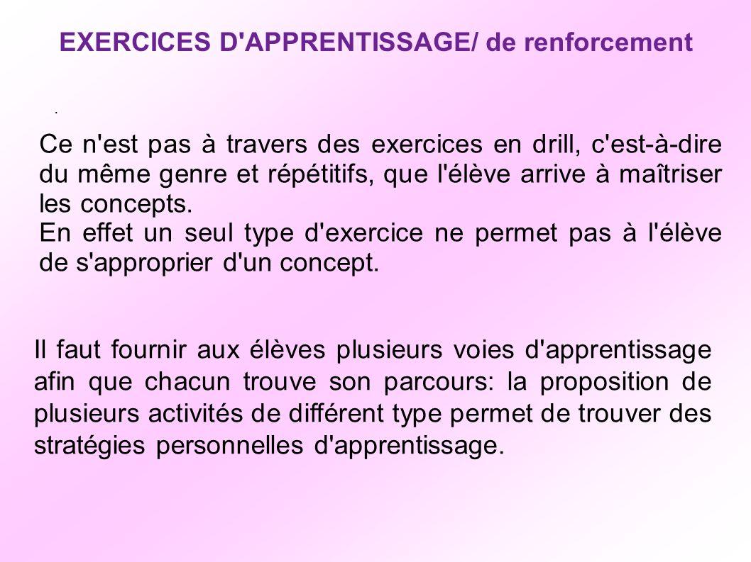EXERCICES D APPRENTISSAGE/ de renforcement Ce n est pas à travers des exercices en drill, c est-à-dire du même genre et répétitifs, que l élève arrive à maîtriser les concepts.