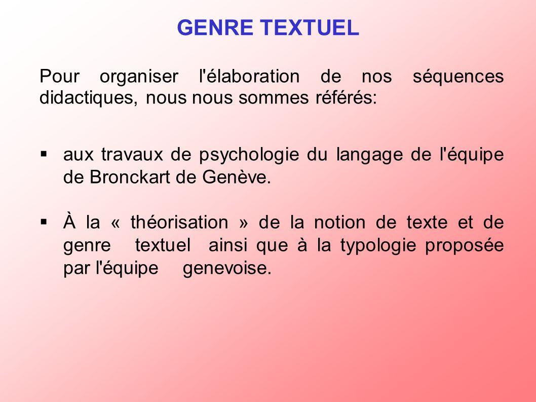 Pour organiser l élaboration de nos séquences didactiques, nous nous sommes référés: aux travaux de psychologie du langage de l équipe de Bronckart de Genève.