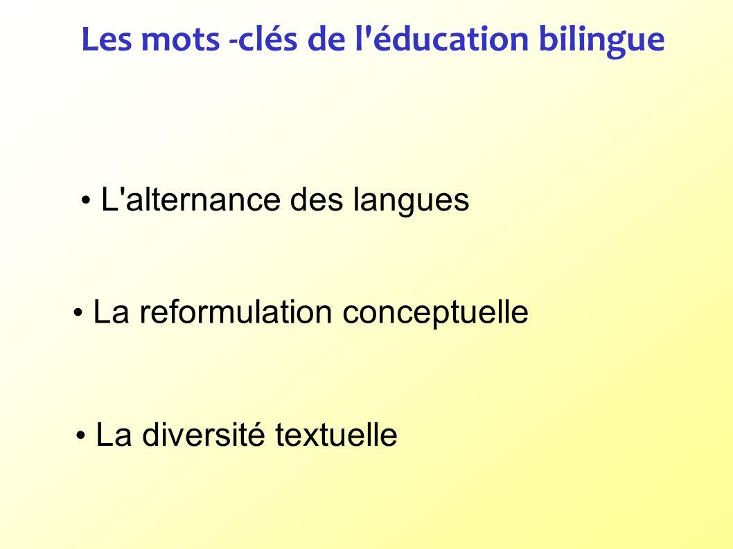 Les mots -clés de l'éducation bilingue L'alternance des langues La reformulation conceptuelle La diversité textuelle