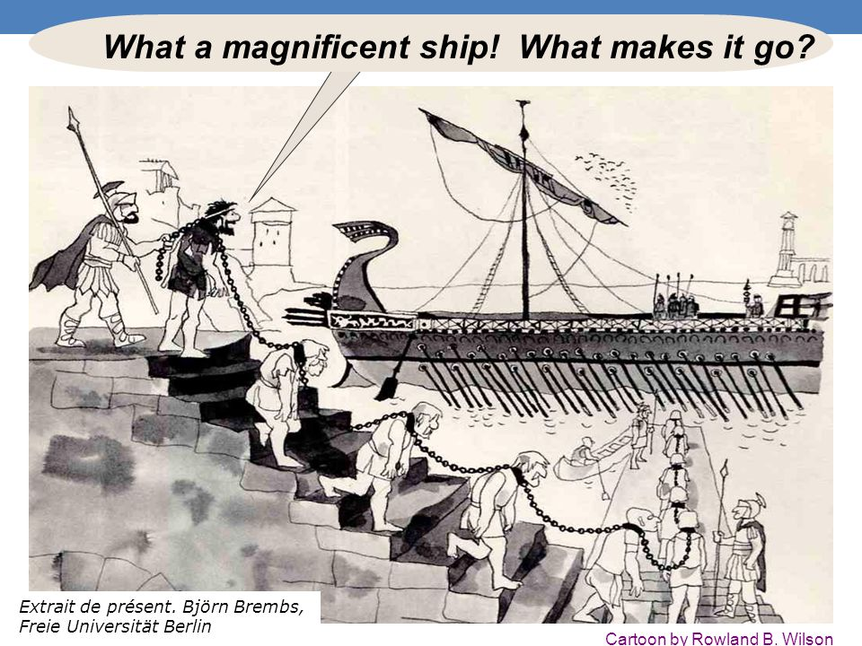 What a magnificent ship.What makes it go. Cartoon by Rowland B.