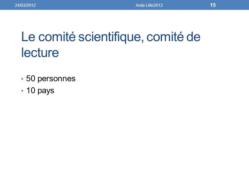 Le comité scientifique, comité de lecture 50 personnes 10 pays 24/03/2012Arda Lille2012 15