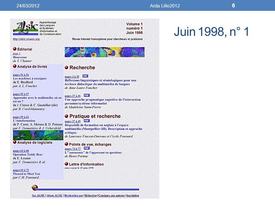 Juin 1998, n° 1 24/03/2012Arda Lille2012 6