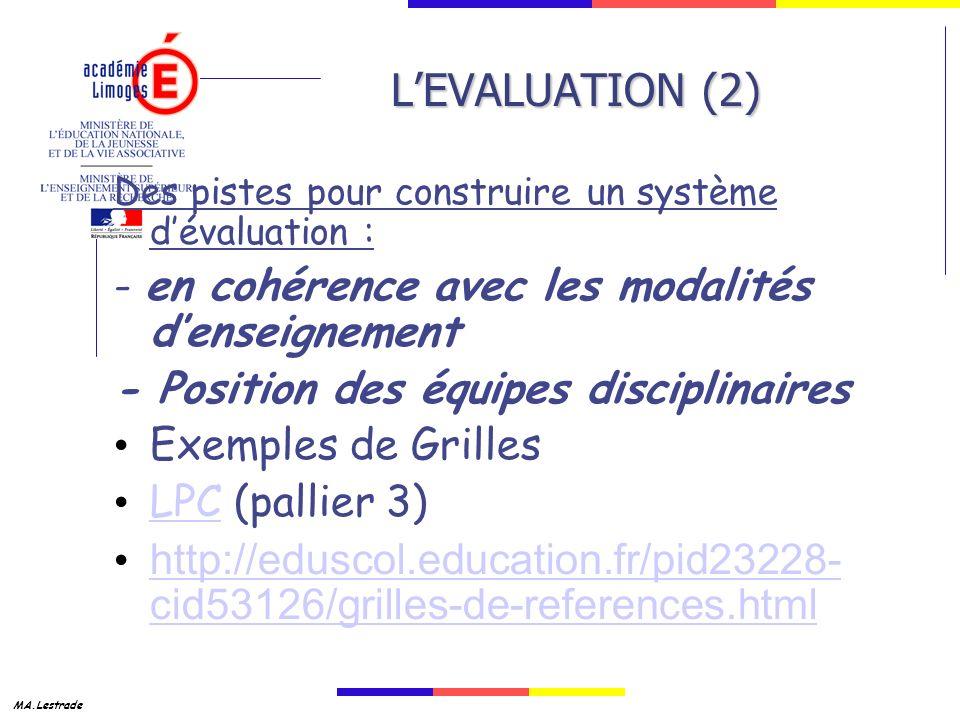 MA.Lestrade LEVALUATION (2) Des pistes pour construire un système dévaluation : - en cohérence avec les modalités denseignement - Position des équipes disciplinaires Exemples de Grilles LPC (pallier 3) LPC http://eduscol.education.fr/pid23228- cid53126/grilles-de-references.html http://eduscol.education.fr/pid23228- cid53126/grilles-de-references.html