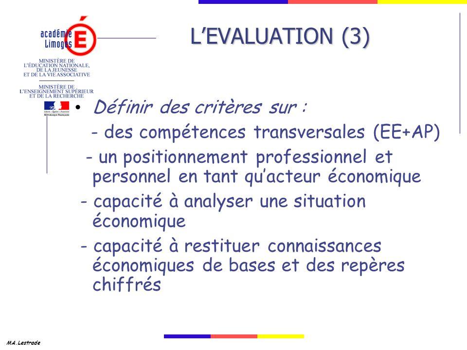 MA.Lestrade LEVALUATION (3) Définir des critères sur : - des compétences transversales (EE+AP) - un positionnement professionnel et personnel en tant quacteur économique - capacité à analyser une situation économique - capacité à restituer connaissances économiques de bases et des repères chiffrés