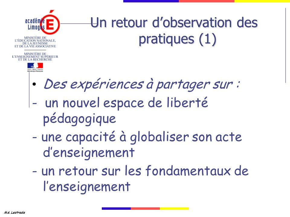 MA.Lestrade Un retour dobservation des pratiques (1) Des expériences à partager sur : - un nouvel espace de liberté pédagogique - une capacité à globaliser son acte denseignement - un retour sur les fondamentaux de lenseignement